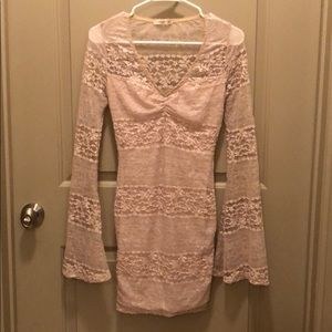 Arden B Gold Shimmer Lace Dress